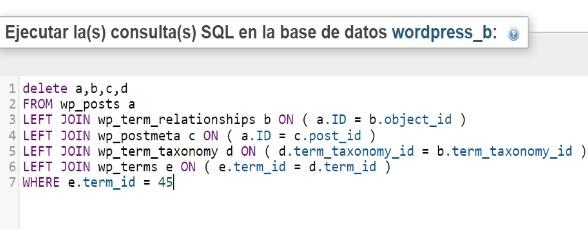 Sentencia SQL para eliminar todas las entradas de una categoría de Wordpress