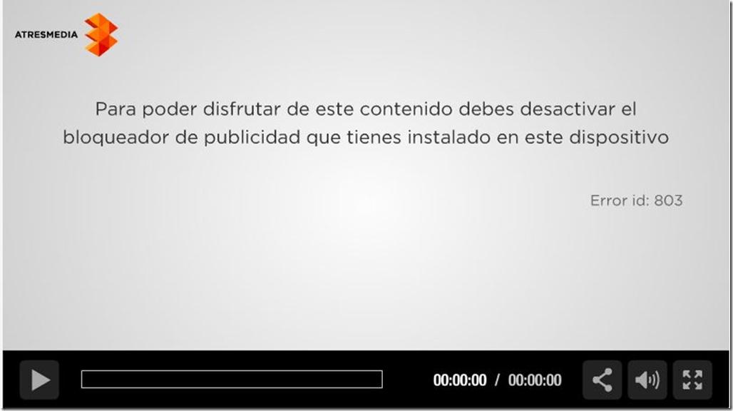 Player de la sexta.com insta a desactivar el bloqueador.